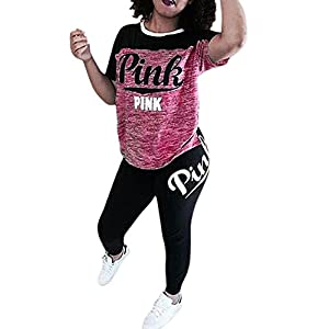 Tomwell Women 2 Pieces 'Pink' Letter Print Tracksuit Set Short Sleeve Crop + Jogger Long Pant Outfits Sportswear