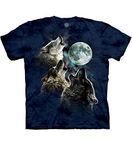 The Mountain Three Wolf Moon In Blue Adult T-Shirt, Blue, Medium