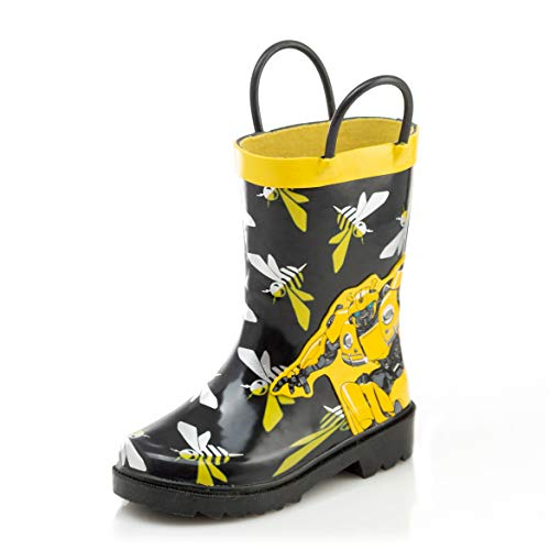 Hasbro Transformers Bumblebee Boys Waterproof Easy-On Rubber Rain Boots - Size 8 M US Toddler ()
