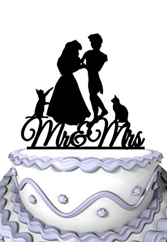 (Meijiafei Wedding Cake Topper - Mr & Mrs with 2 Cats Couple Silhouette Anniversary Party Supplies)