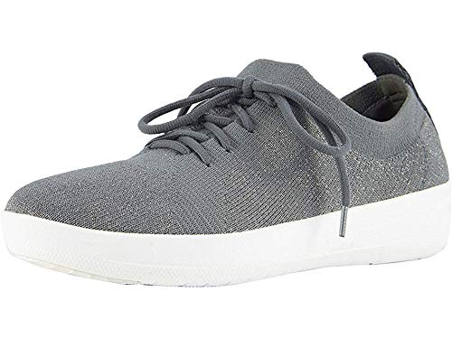 FitFlop Women's F-Sporty ÜBERKNIT Metallic-Weave Sneakers, Charcoal/Metallic Pewter, 8 M ()