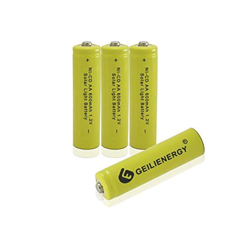 GEILIENERGY Solar Light Batteries AA NICD AA 600mAh 1.2V Rechargeable Batteries for Solar Lamp (Pack of 4)