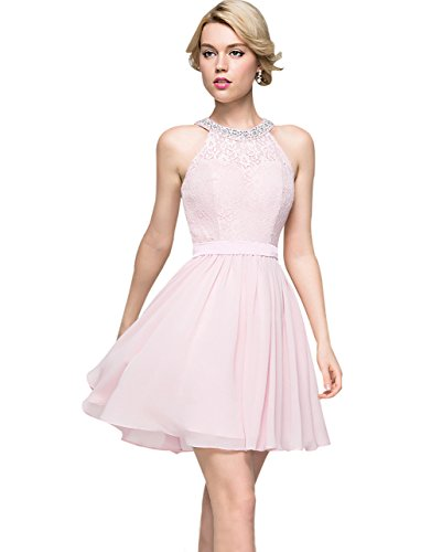 bc22f670d3c2b Zhongde Halter Lace Beaded Party Dress Short Chiffon Bridesmaid Dresses  Wedding Party Gown for Girls Light Pink Size 10