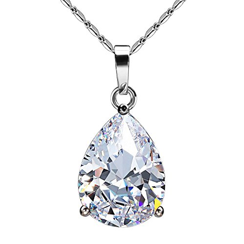 ling Bling Classic Design Cubic Zirconia CZ Pear Shape Tear Drop Pendant Necklace (Diamond Teardrop Pendant Chain)