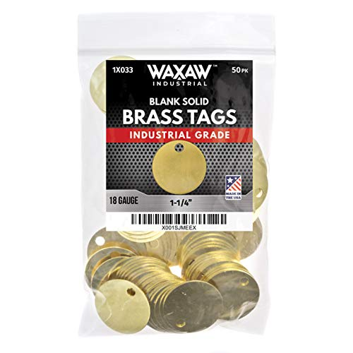 "1.25"" Solid Brass Stamping Tags (50 Pack) Industrial Grade 0.040"" Blank Chits for Pipe Valves, Keys, Tool and Equipment Labeling 