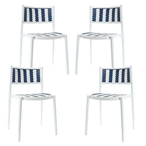 Tuxedo Dining Table Set - Poly and Bark Tuxedo Indoor / Outdoor Dining Chair (Set of 4)