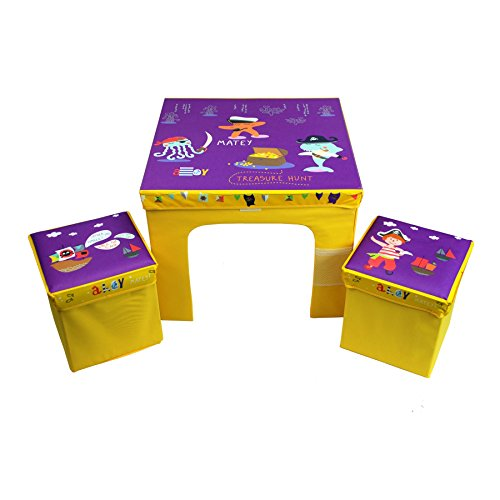 CrazyGadget Children's Table and 2 Storage Bin Style Chairs Furniture Set Bright Colourful Set Flat Pack Collapsible Childs Junior Fabric Furniture Set Available in Princess, Pirate, Fox & Raccoon and Animal Train themes.