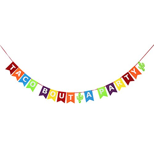 Taco Bout A Party Banner - No DIY Required | Felt Banner | Birthday, Wedding, Bachelorette, Fiesta Salsa, Mexican Fiesta Theme Party Decorations by Partyprops