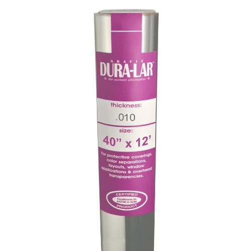 Grafix Clear .010 Dura-Lar Film Roll, 40-Inch by 12-Feet - Clear Acetate Rolls