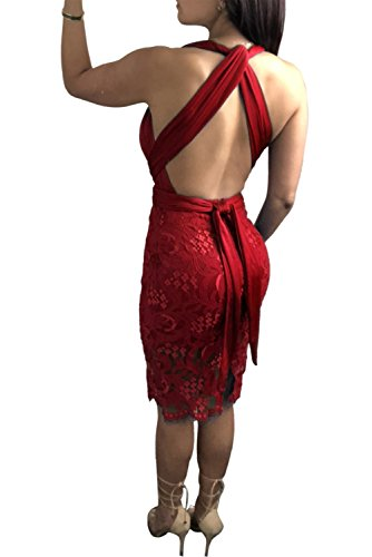 Aecibzo Sangles Multi-sens Enveloppements Partie Dentelle Infini Mini-club Rouge Robe De La Femme