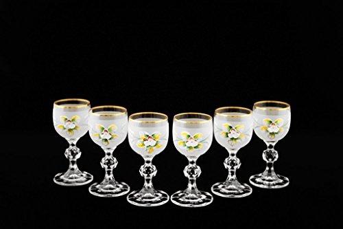 Crystalex 6-pc Bohemia Colored Crystal Vintage Enamel White Shot Glasses Set, 24K Gold-Plated, Hand Made ()