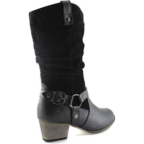 Womens Slouch Metà Polpaccio Cinturino Alla Caviglia Fibbia Western-01 Stile Stivali Da Cowboy Nero Sv