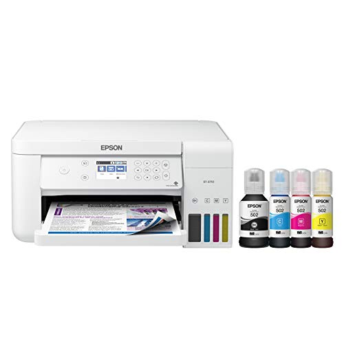 Epson EcoTank ET-3710 Wireless Color All-in-One Cartridge-Free Supertank Printer with Scanner, Copier and Ethernet, Regular, White