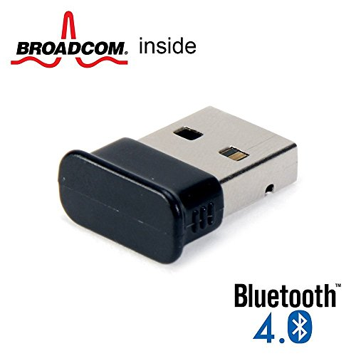 GMYLE Bluetooth Adapter Dongle for Windows 10, 8.1, 7 and More, Ultra-Mini USB Broadcom BCM20702 Class 2 Bluetooth V4.0 Dual Mode Dongle Wireless Receiver with LED