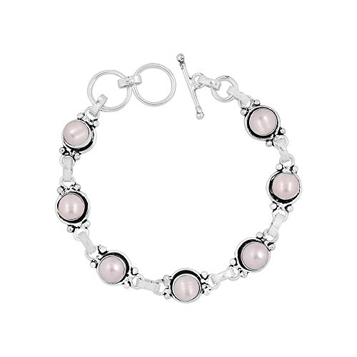 Genuine 7mm Round Shape Pearl Link Bracelet 925 Silver Overlay Handmade Jewelry for Women Girls
