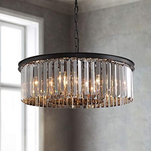 APBEAM Crystal Chandelier Drum Shade Luxury Hanging Black Smoke Crystal Pendant Lighting Fixture
