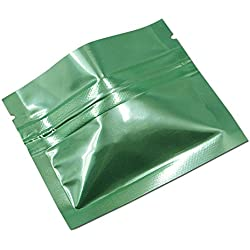 "100 Pieces 7.5x6cm (3""x2.4"") Green Colors Ziplock Aluminum Foil Pouch Heat Seal Aluminum Foil Small Ziplock Bags Flat Zip Lock Retail Package Bag Food Storage Pouch"
