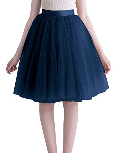 Mesh Full Skirt - Dasior Mid-Knee-Length Full Tulle Mesh Skirts for Graduation Party L Navy
