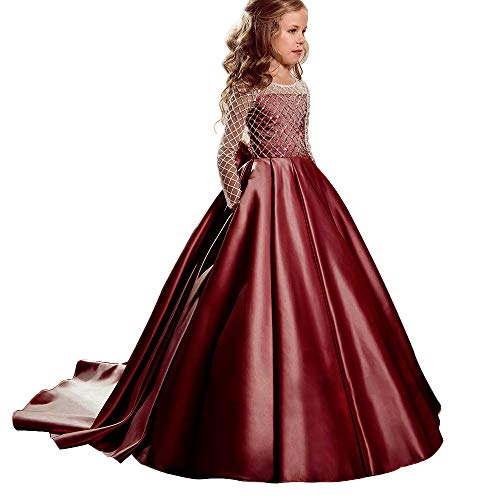 (Christmas Flower Girl Dress Floor Length Button Draped Tulle Ball Gowns for Kids (2, Burgundy))