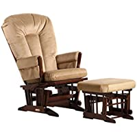 Dutailier Colonial Glider-Multi-Position Recline and Nursing Ottoman Combo, Coffee/Light Brown