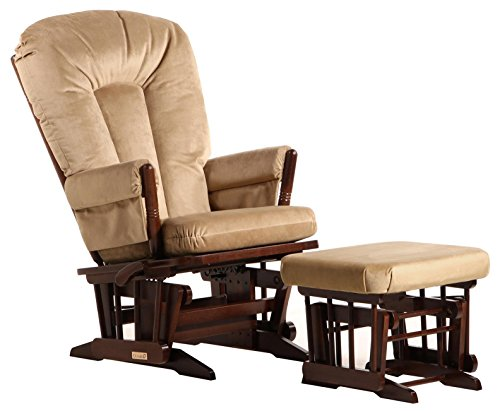Dutailier Colonial Glider-Multi-Position Recline and Ottoman Combo, Coffee/Light Brown