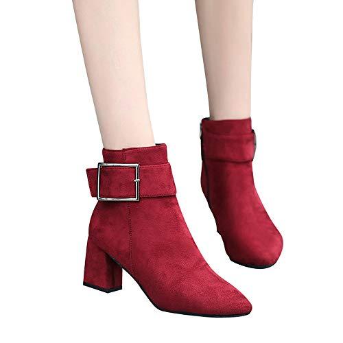 Bracelet Hauts Boucle Talons Martin Dcontracte Rouge Mode Alikeey Femmes Dcontractes Chaussures Bottes En Daim wFqW80RS