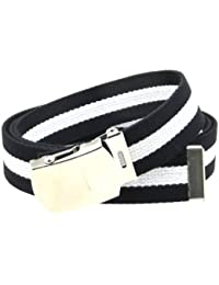 """Canvas Web Belt Military Style Nickel Buckle/Tip Black with Colorful Stripe 50"""""""