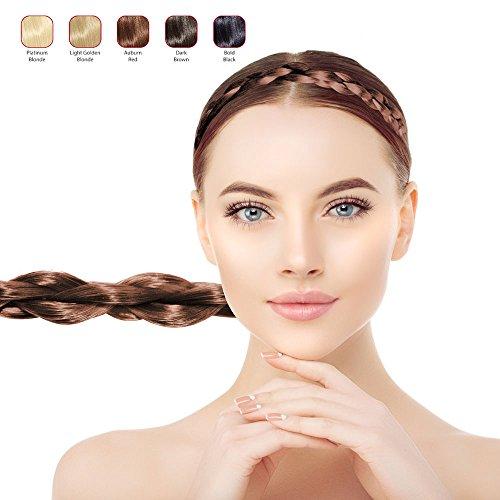 Hollywood Hair Thin Braided Hair Headband for Woman (Auburn Red)