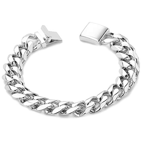 - White Gold Chain Bracelet 14MM Cuban Link, Pure 18karat Gold Filled, USA Product! (8)