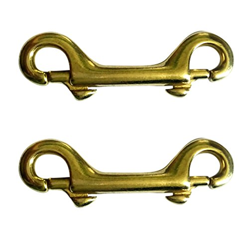 Fenteer 2 Pieces Scuba Diving Brass Double Ended Snap Bolt Hook Key Chain Ring Holder ()