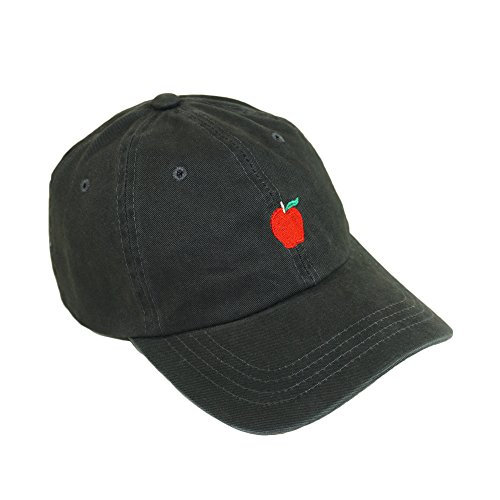 Bingoo Apple Embroidery Fruit Hat Adjustable Cotton Baseball Cap (Charcoal) - Apple Cotton Cap