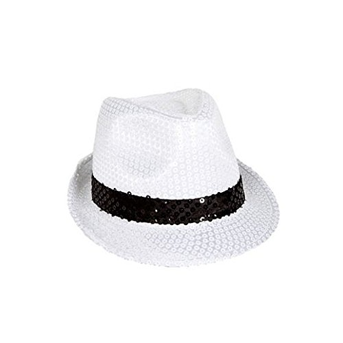 (Fancy Party Halloween White And Black Sequin Gangster Hat)