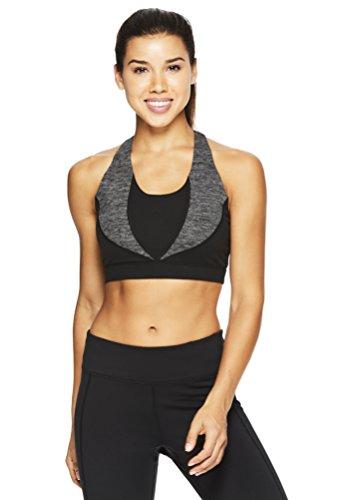 Gaiam Women's Heather Mix Halter Top Sports Bra - Racerback Yoga Sports Bralette w/Open Back - Black (Tap Shoe), Small Gaiam Bra