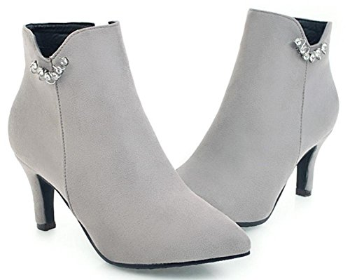Easemax Women's Sweet Faux Suede Side Zipper Pointed Toe Mid Stiletto Heels Short Ankle High Boots Grey 2QaPN4t