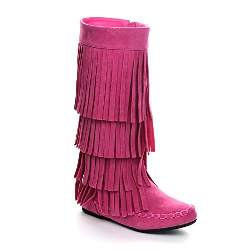I LOVE KIDS Ava-18K Children's 3-Layers Fringe Moccasin Style Mid-Calf Boots,Pink,2 by I LOVE KIDS