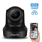 #LightningDeal Bagotte Full HD 1080P WiFi Home Security Camera, Wireless IP Indoor Surveillance System Pan/Tilt/Zoom Audio Camera, Night Vision, Motion Detection, Remote Baby Monitor iOS - Cloud Storage