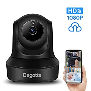 Bagotte Full HD 1080P WiFi Home Security Camera, Wireless IP Indoor Surveillance System Pan/Tilt/Zoom Audio Camera, Night Vision, Motion Detection, Remote Baby Monitor iOS – Cloud Storage