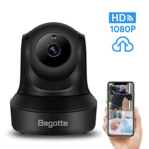 Bagotte Full HD 1080P WiFi Home Security Camera, Wireless IP Indoor Surveillance System Pan/Tilt/Zoom Audio Camera, Night Vision, Motion Detection, Remote Baby Monitor iOS - Cloud Storage (Camera Ip Wifi)