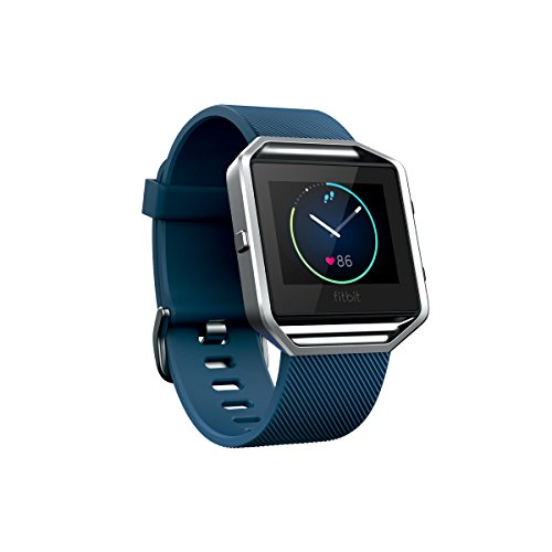 Fitbit Blaze Fitness Watch, Silver Small, Blue