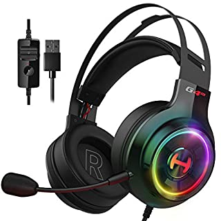 Edifier G4 TE Gaming Headset for PC, PS4, 7.1 Surround Sound Gaming Headphones with Noise Canceling Microphone, USB Over-Ear Headphone Wired with RGB Light, 50mm Driver for Mac, Laptop,Black
