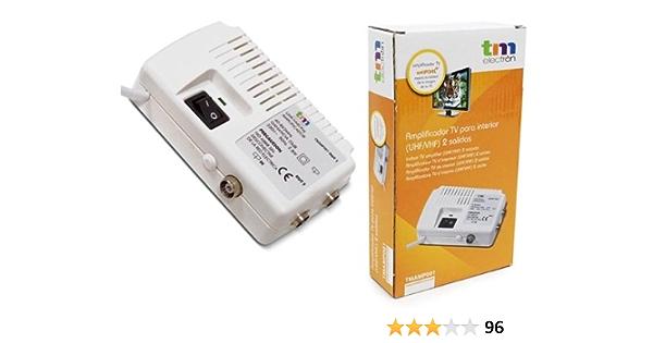 TM Electron TMAMP001 - Amplificador de Antena TV para Interior UHF/VHF con 2 Salidas, Color Blanco