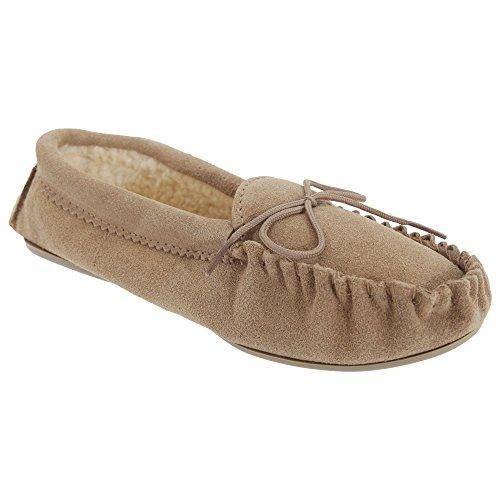 Mocassini Da Donna / Da Donna Angie Mocassino Pantofole In Vera Pelle Scamosciata Taupe