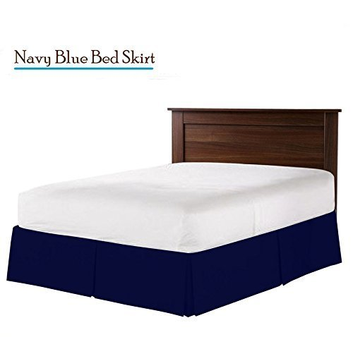 """White Impact Hotel Luxury Collection 1800 series Platinum collection (Queen, Navy Blue) Bed skrit Luxury Double Brushed 100% Microfiber Dust Ruffle, 21"""" inch Tailored Drop, Covers Bed Legs and Frame"""