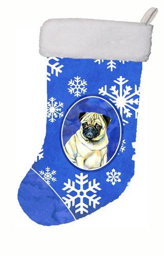 Caroline's Treasures Pug Winter Snowflakes Holiday Christmas Stocking, 11 x 18