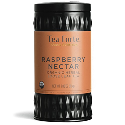 Tea Forte Organic Herbal Tea, Makes 35-50 Cups, 3.88 Ounce Loose Leaf Tea Canister, Raspberry Nectar (Tea Forte Herbal Tea Chest)
