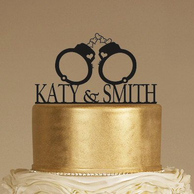 Custom Wedding Cake Topper with Handcuffs and Couple Names