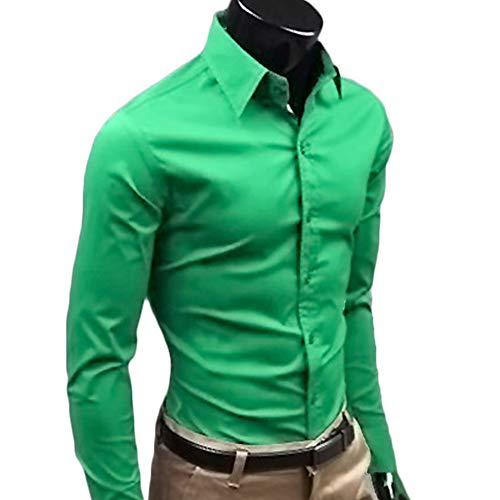 高度郊外水曜日[EasternStar] メンズ ビジネス シャツ Business Shirt 長袖 スリムタイプ 無地 綿製 紳士 フォーマル 通勤 全17色 M-XXL