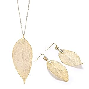 18K Gold Plated Natural Leaf Pendant Necklace Earring Set Trendy Fall Women Jewelry
