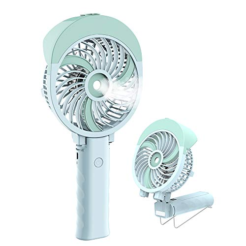 Handheld Misting Fan, HandFan Mini Hand Fan/Small Desk Fan Folding Change USB/Rechargeable Battery Operated Electric Fan Portable Cooling Fan Personal Spray Fan with Cooling Humidifier/Mister/3 -