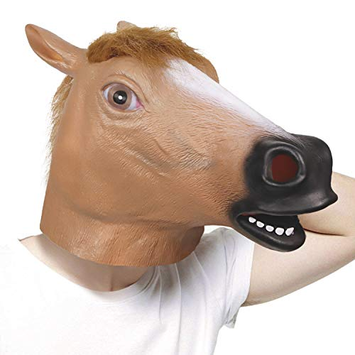 molezu Horse Mask, Creepy Horse Mask, Rubber Latex Animal Mask, Novelty Halloween Costumes, Brown Horse for $<!--$11.99-->